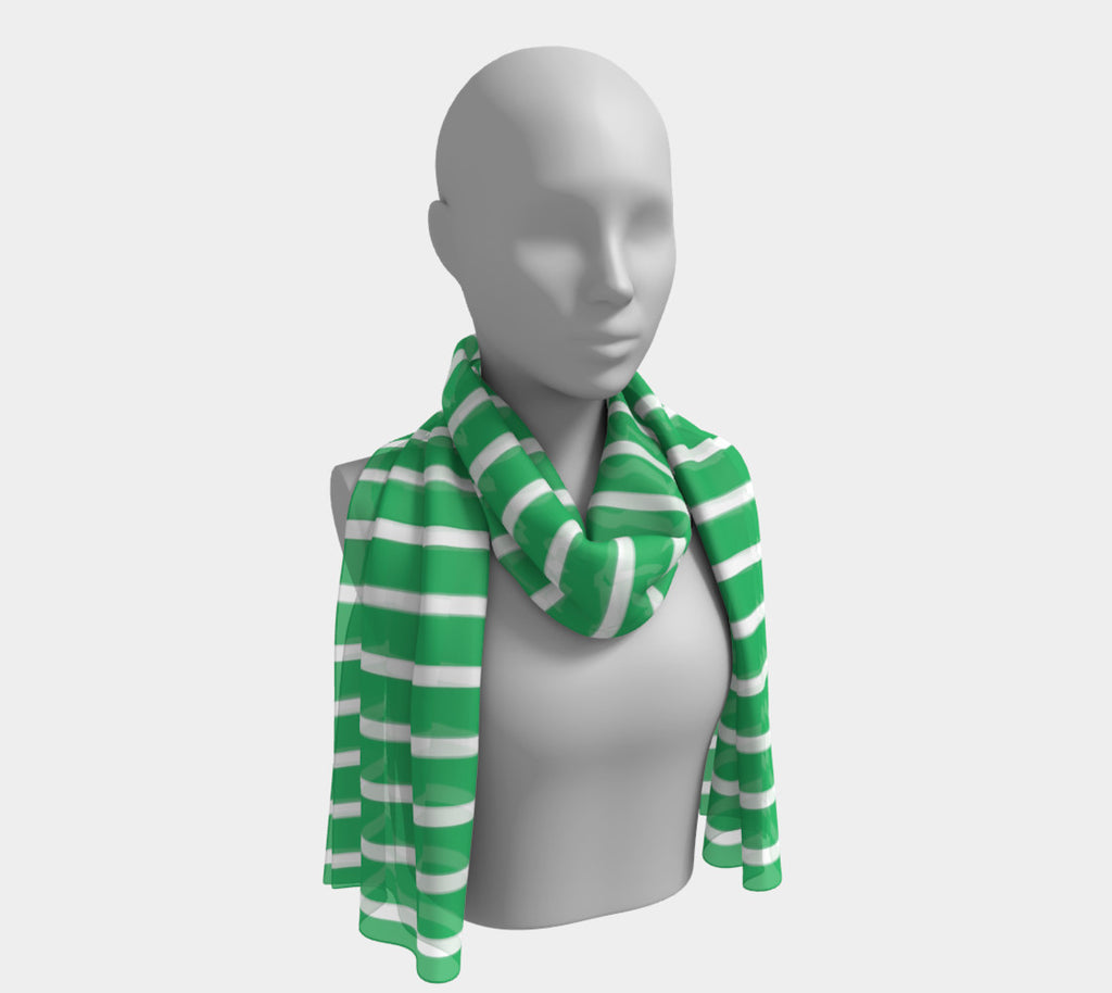 Striped Long Scarf - White on Green