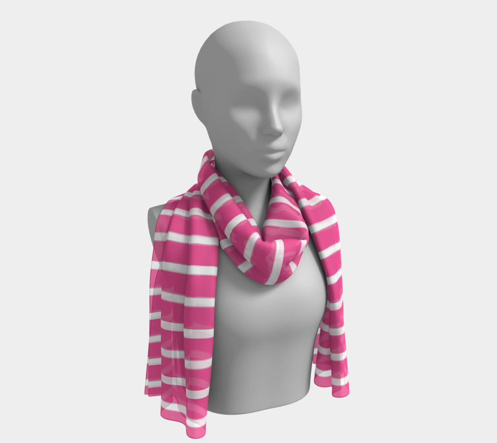 Striped Long Scarf - White on Pink