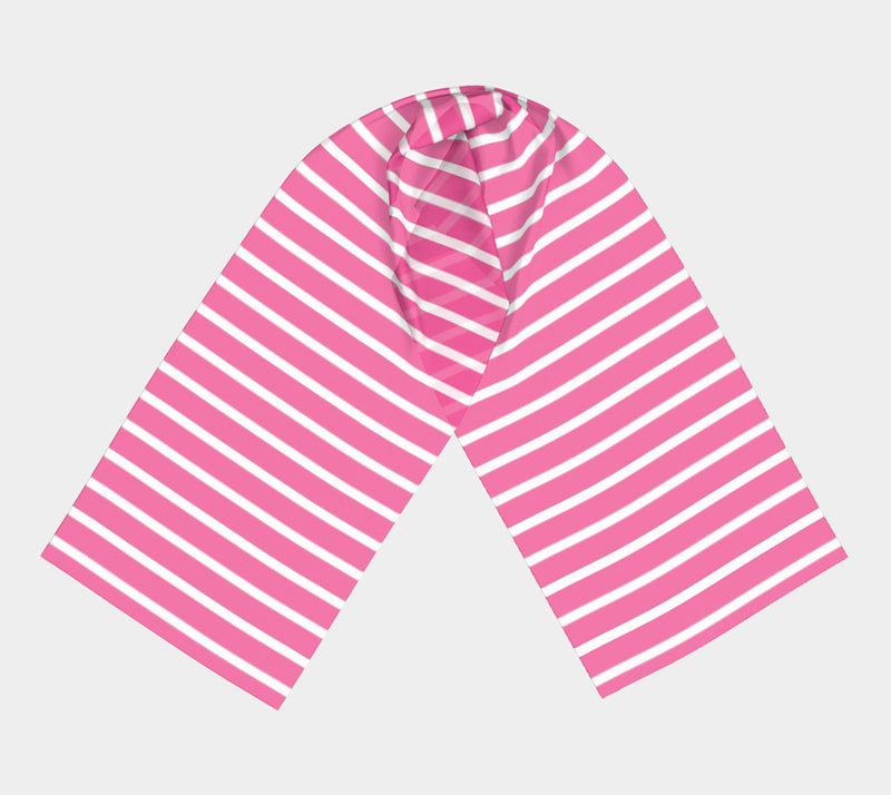 Striped Long Scarf - White on Pink - SummerTies