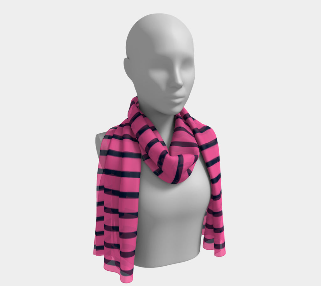 Striped Long Scarf - Navy on Pink