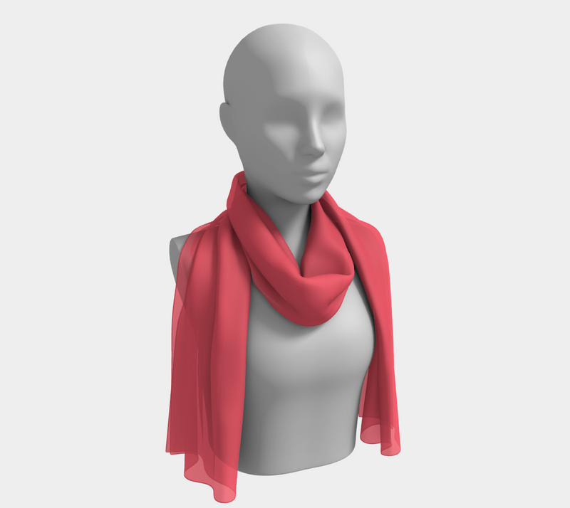 Solid Long Scarf - Coral - SummerTies