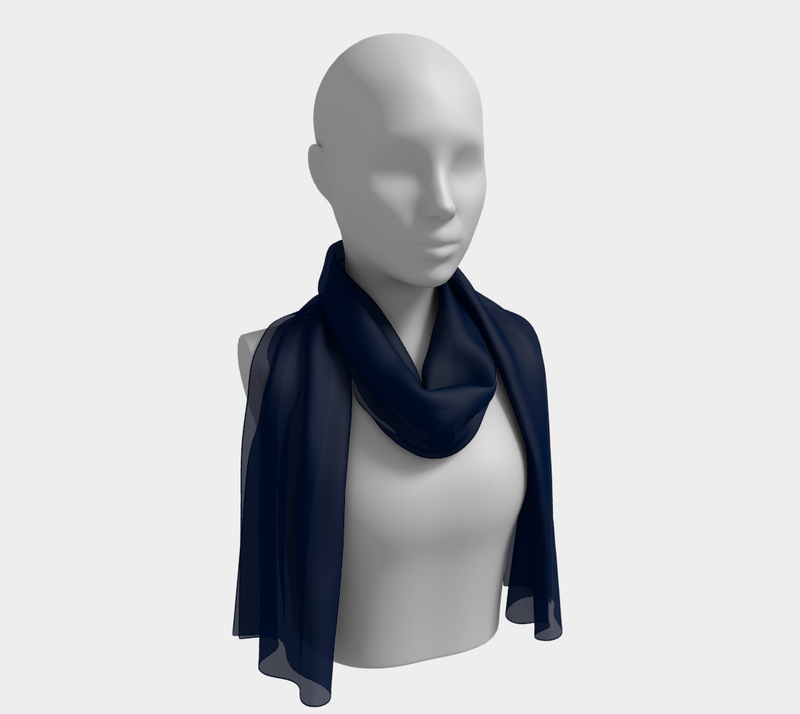 Solid Long Scarf - Navy - SummerTies