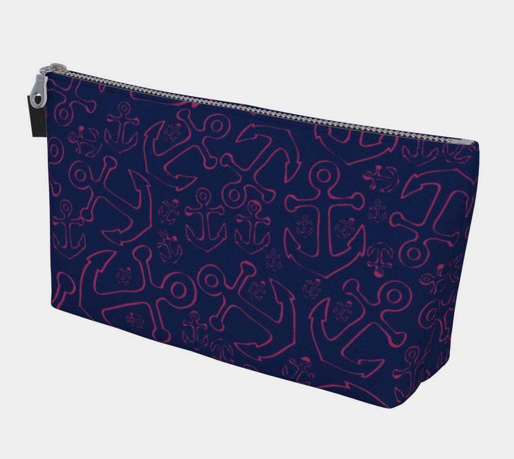 Anchor Dream Makeup Bag - Pink on Navy