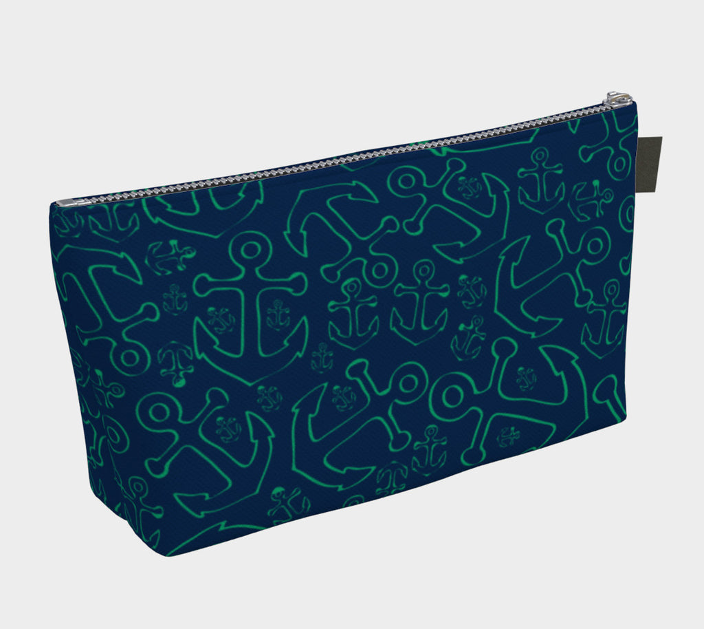 Anchor Dream Makeup Bag - Green on Navy