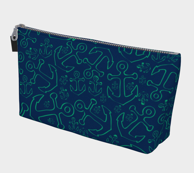 Anchor Dream Makeup Bag - Green on Navy - SummerTies