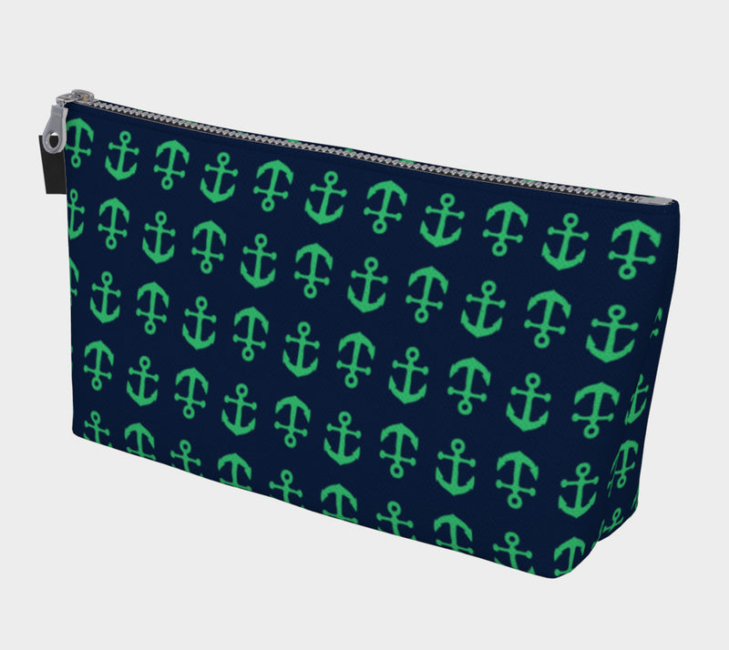 Anchor Toss Makeup Bag - Green on Navy - SummerTies