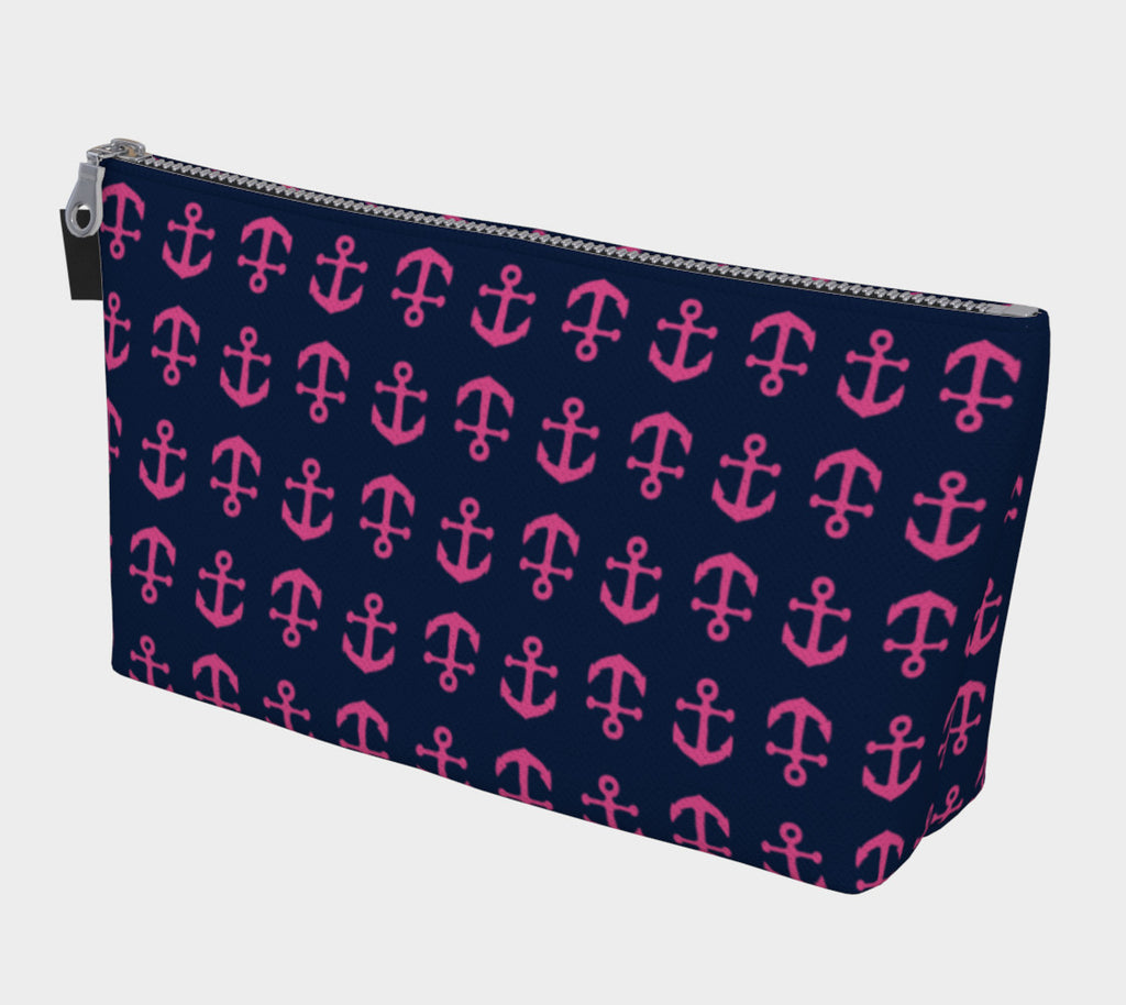 Anchor Toss Makeup Bag - Pink on Navy - SummerTies