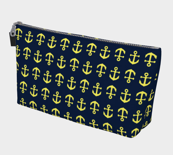 Anchor Toss Makeup Bag - Yellow on Navy - SummerTies