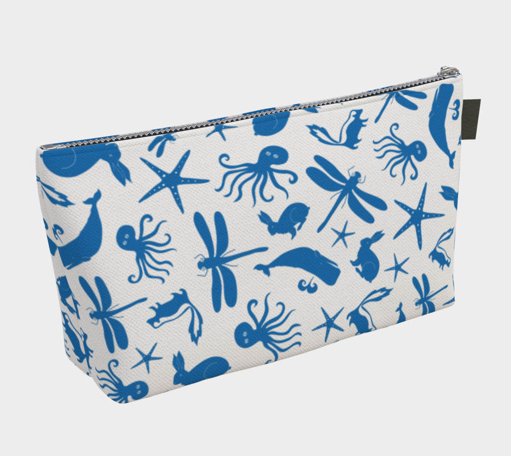 Multi Creature Makeup Bag - Blue on White - SummerTies