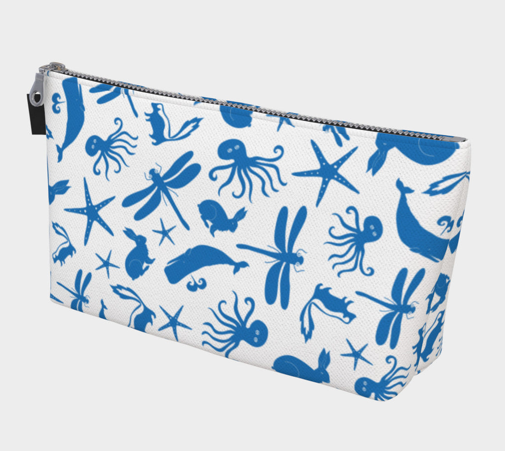 Multi Creature Makeup Bag - Blue on White