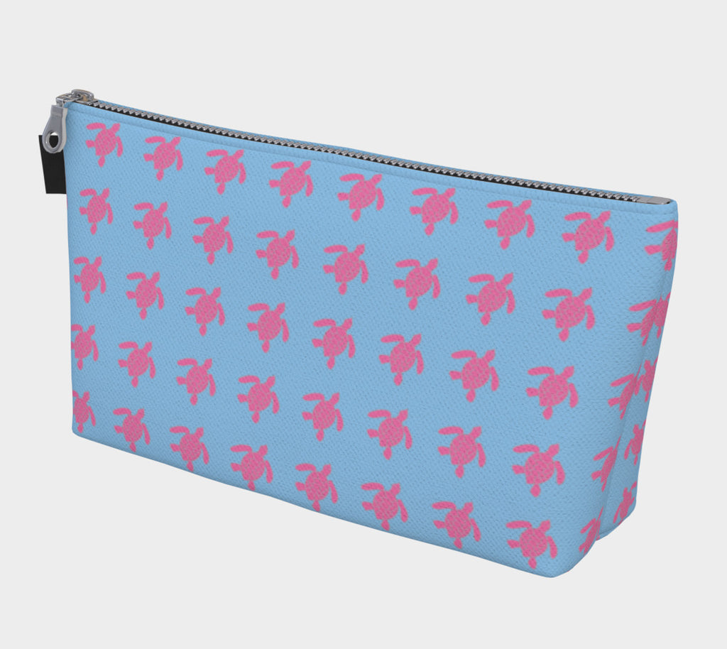 Turtle Makeup Bag - Pink on Blue