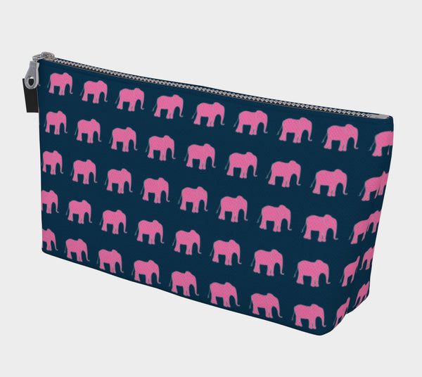 Elephant Makeup Bag - Pink on Navy - SummerTies