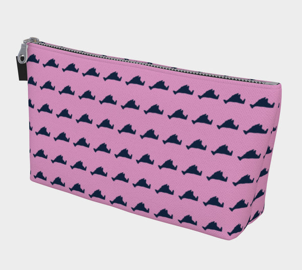 Martha's Vineyard Makeup Bag - Navy on Pink - SummerTies