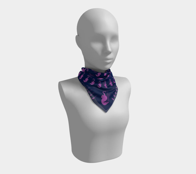 Seahorse Square Scarf - Pink on Navy - SummerTies
