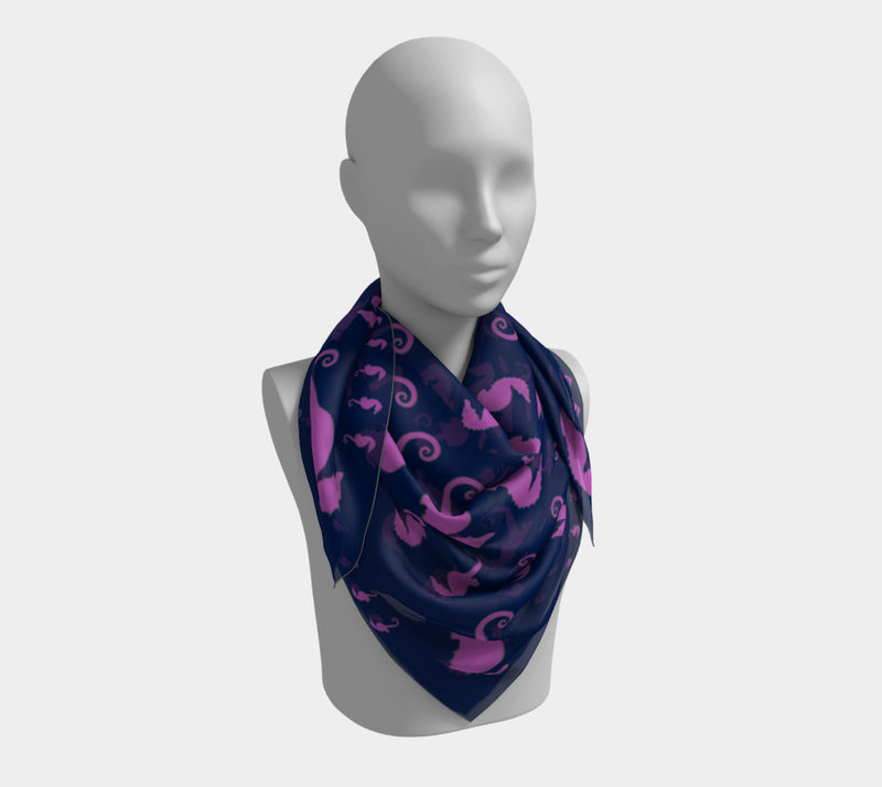 Seahorse Square Scarf - Pink on Navy