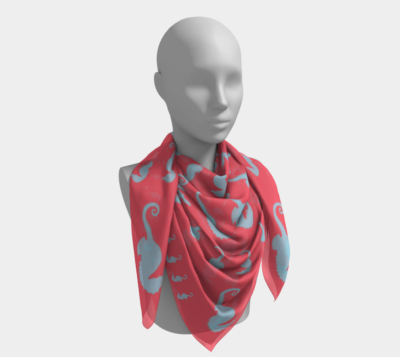 Seahorse Square Scarf - Light Blue On Coral
