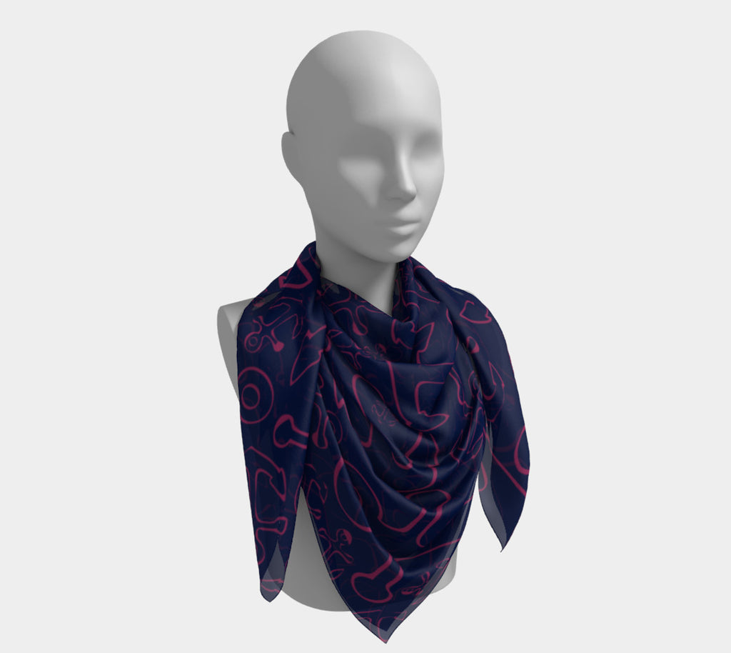 Anchor Dream Square Scarf - Pink on Navy - SummerTies
