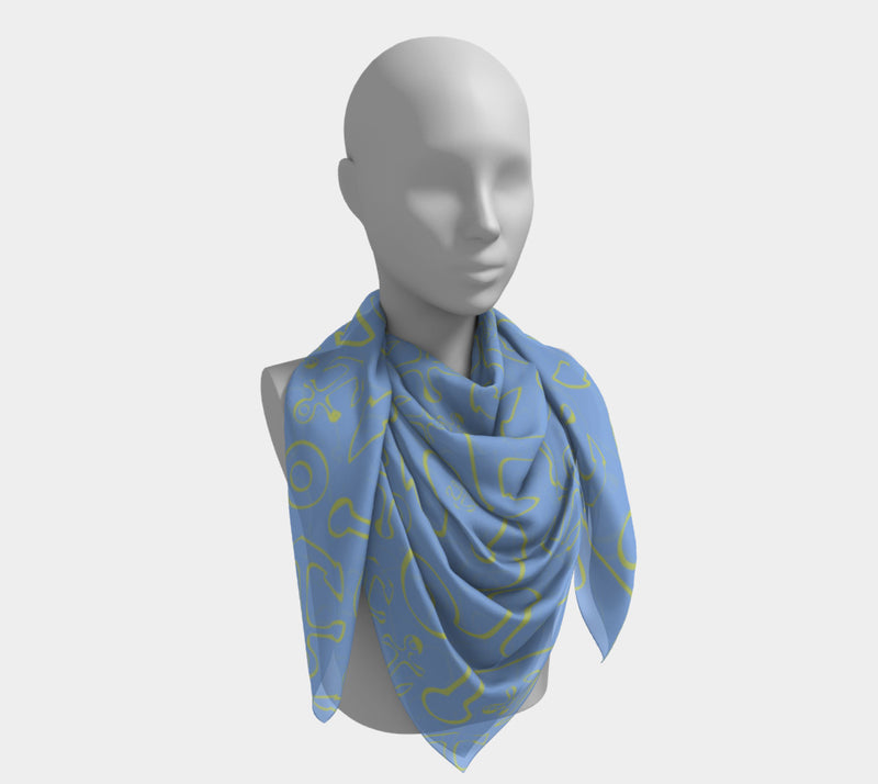 Anchor Dream Square Scarf - Yellow on Lt Blue - SummerTies