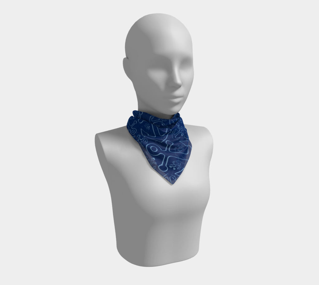 Anchor Dream Square Scarf - Blue on Navy - SummerTies