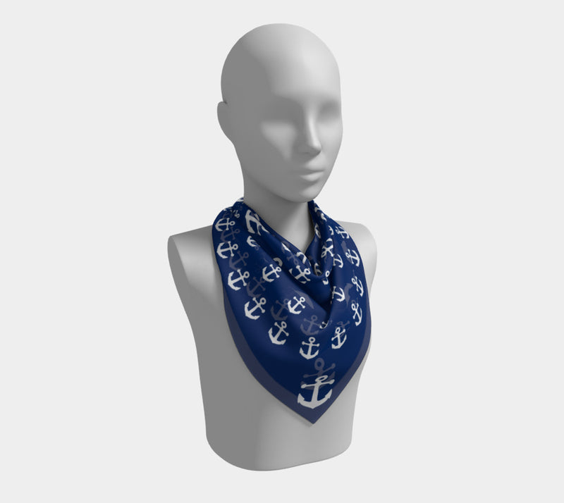 Anchor Pinwheel Square Scarf - White on Navy - SummerTies