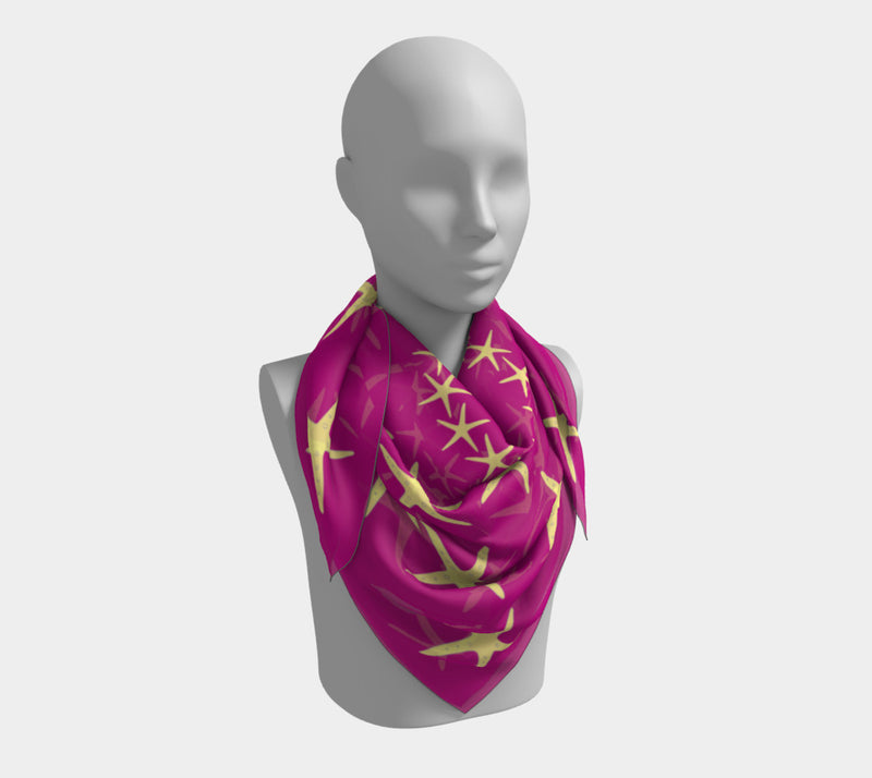 Starfish Square Scarf - Yellow on Pink - SummerTies