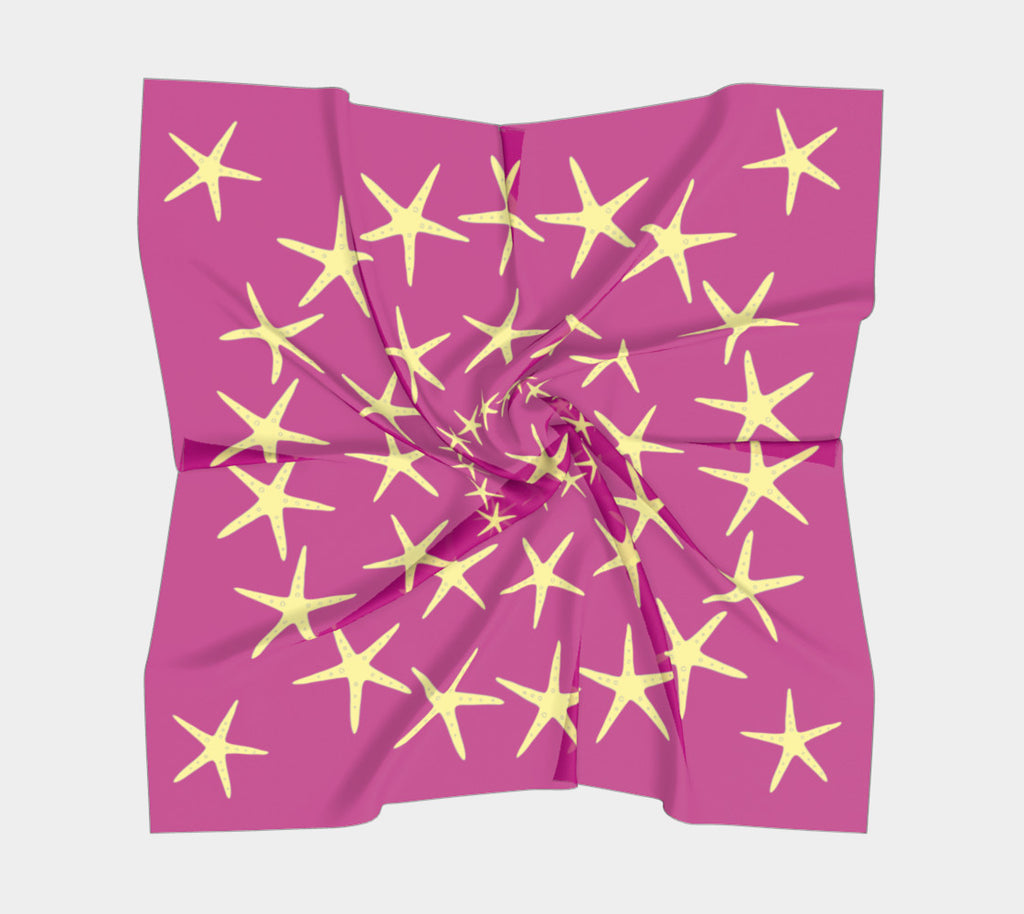 Starfish Square Scarf - Yellow on Pink