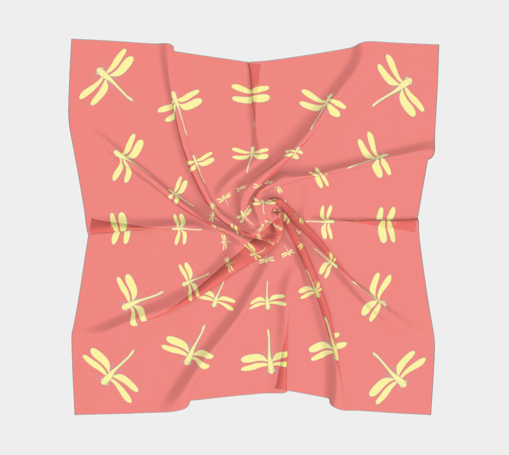 Dragonfly Square Scarf - Yellow on Orange - SummerTies