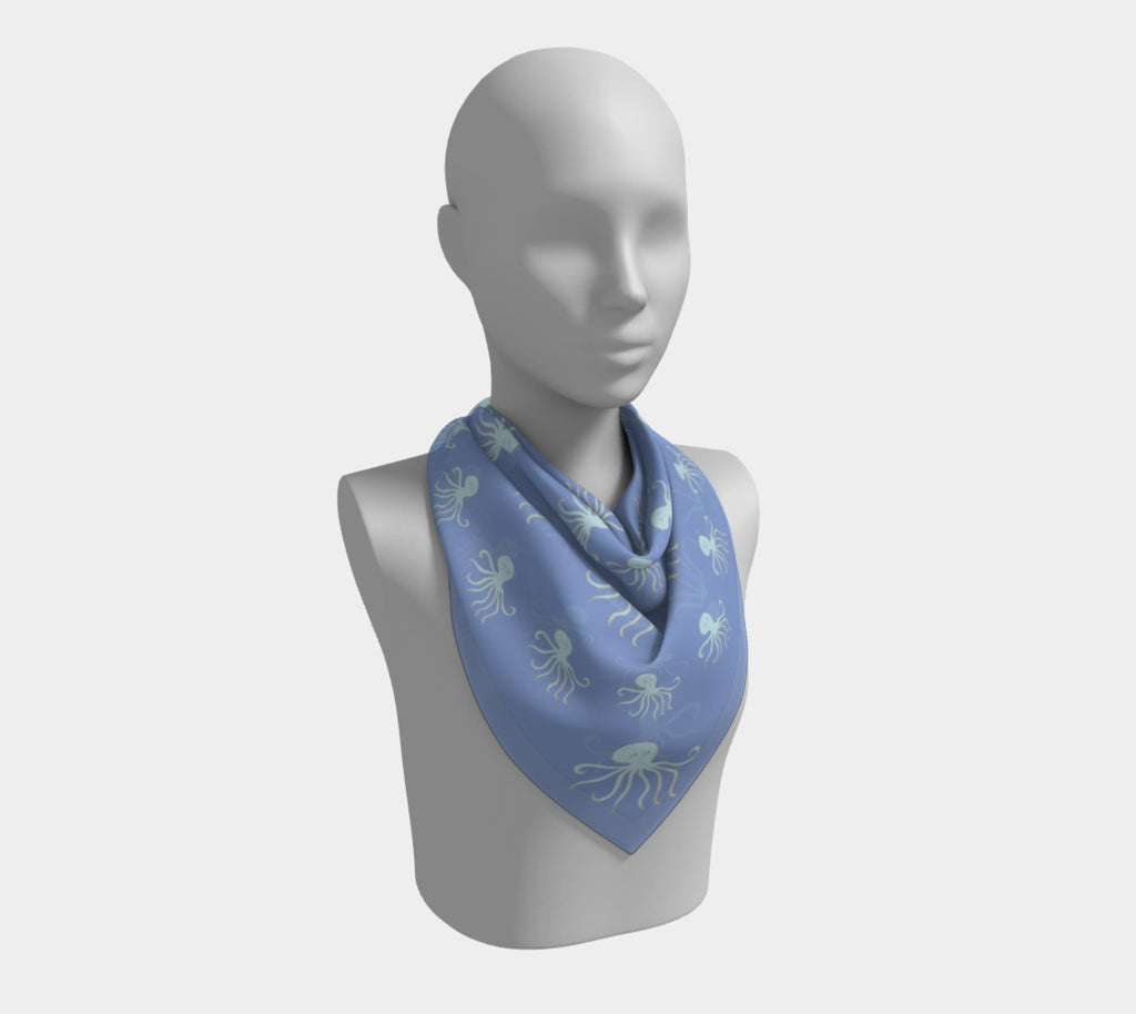 Octopus Square Scarf - Lt Blue on Blue - SummerTies
