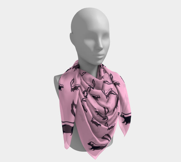 Skunk Square Scarf - Black on Pink - SummerTies