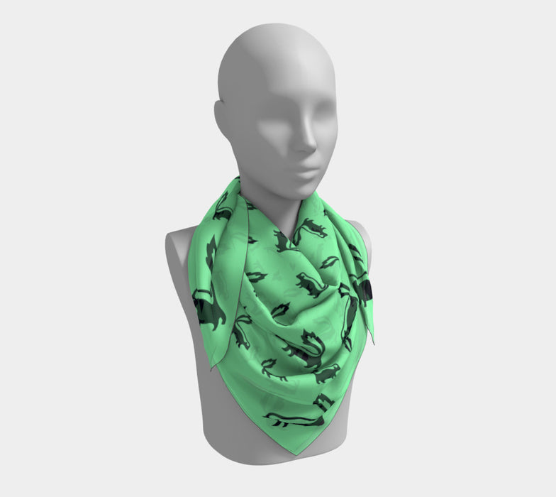 Skunk Square Scarf - Black on Green