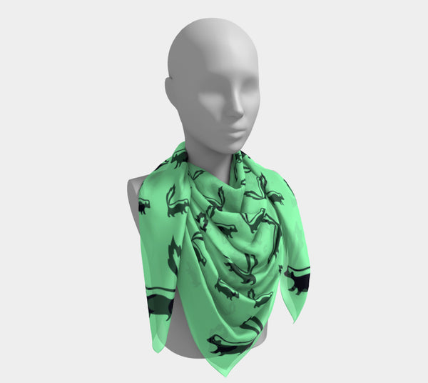 Skunk Square Scarf - Black on Green - SummerTies