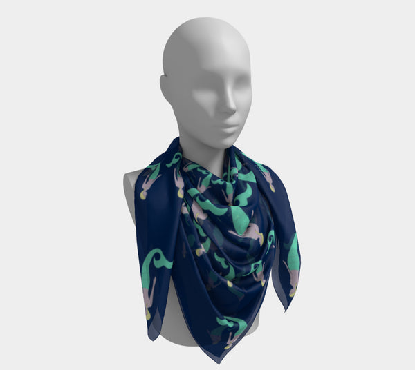 Mermaid Square Scarf - Navy
