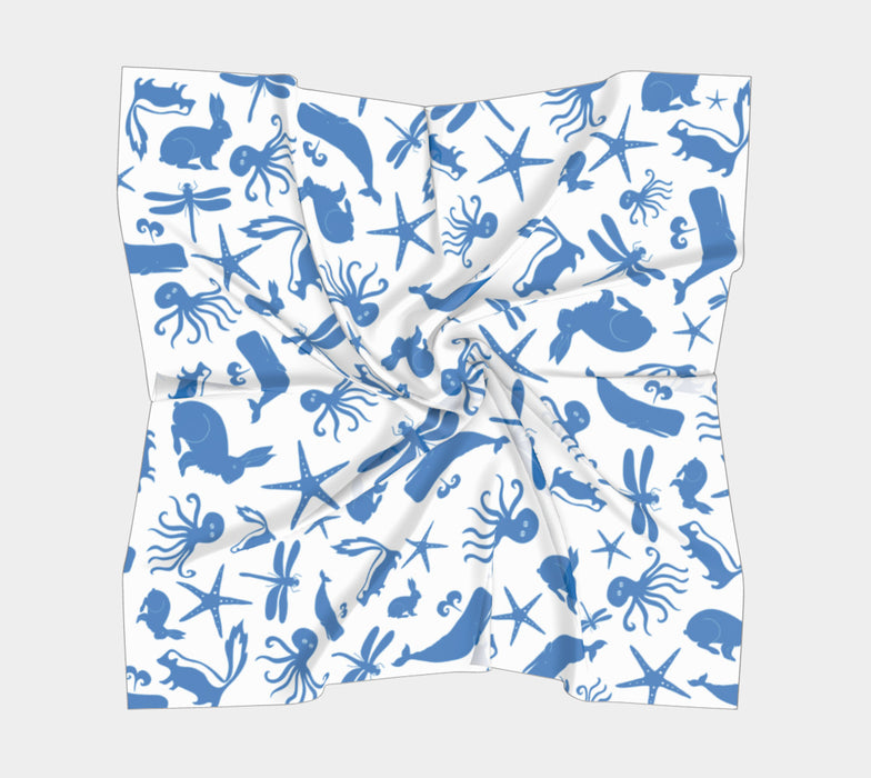 Multi Creature Square Scarf - Blue on White
