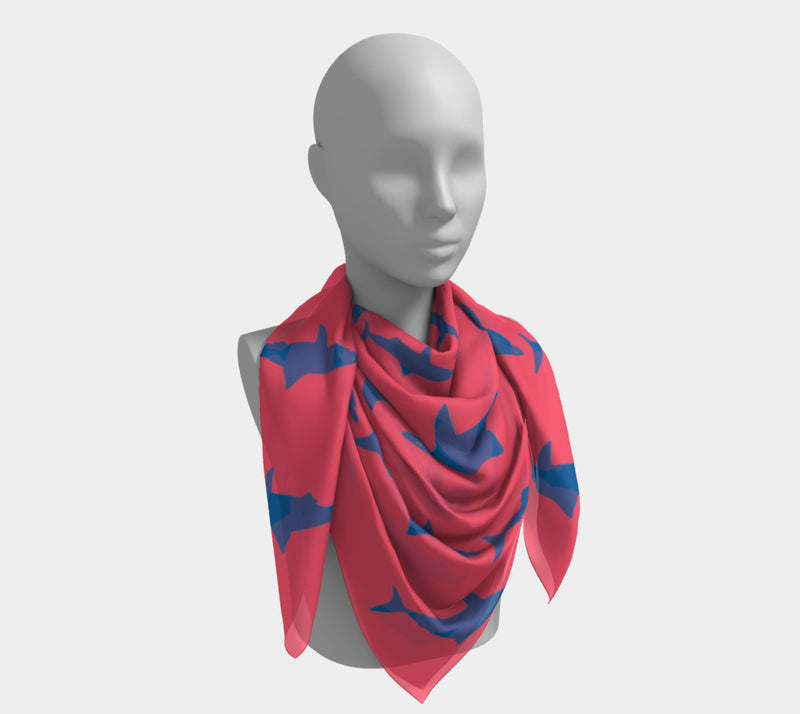 Shark Square Scarf - Blue on Coral
