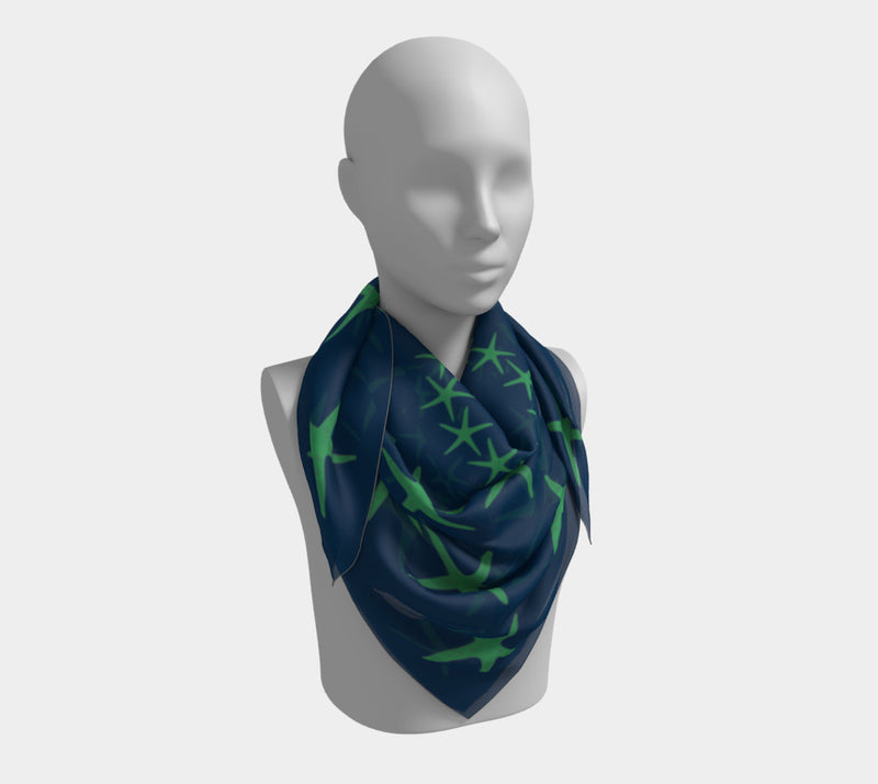 Starfish Square Scarf - Green on Navy - SummerTies