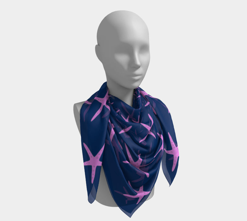 Starfish Square Scarf - Pink on Navy - SummerTies