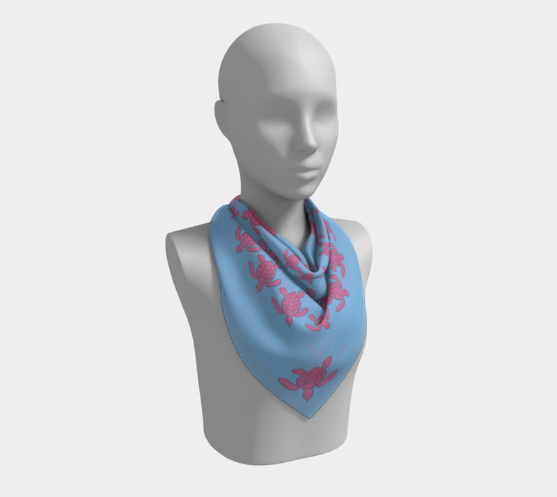 Turtle Square Scarf - Pink on Light Blue - SummerTies