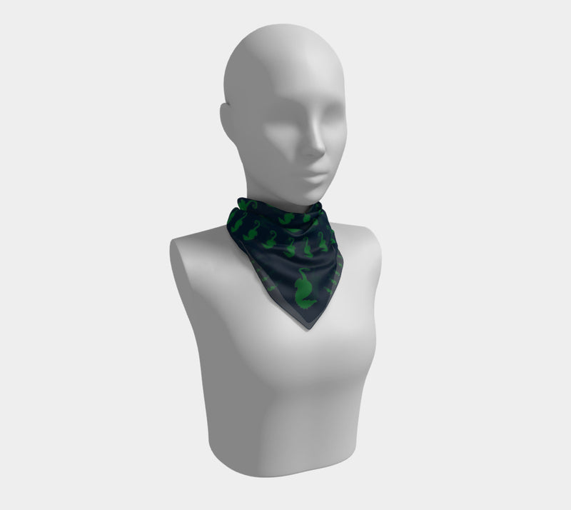 Seahorse Square Scarf - Green on Navy