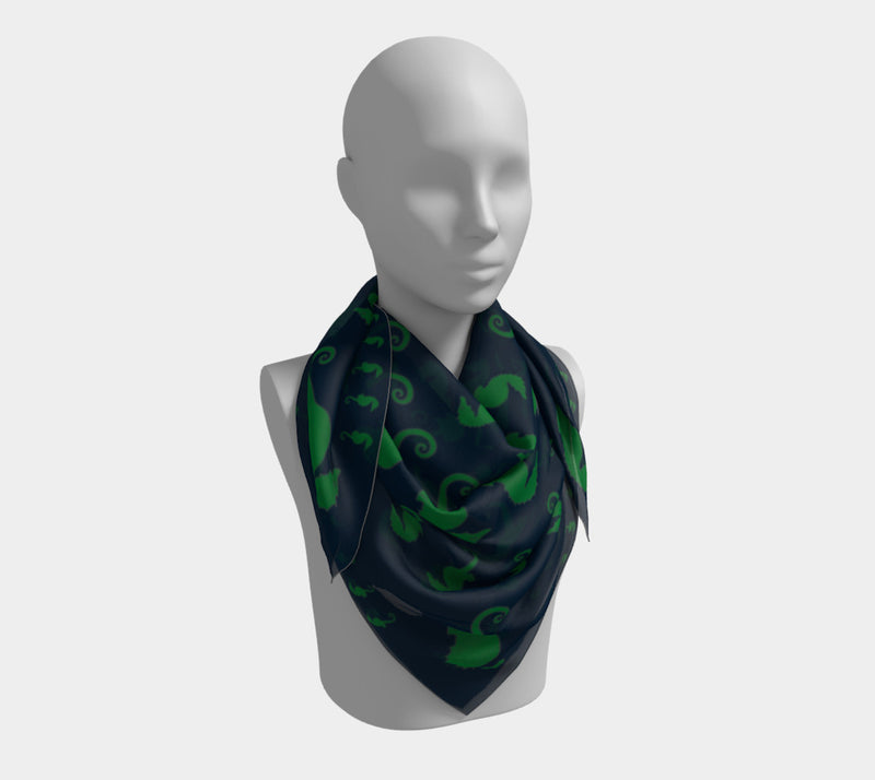 Seahorse Square Scarf - Green on Navy - SummerTies
