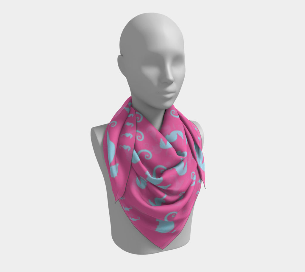 Seahorse Square Scarf - Light Blue on Pink