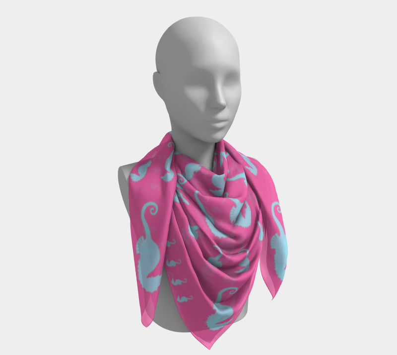 Seahorse Square Scarf - Light Blue on Pink - SummerTies