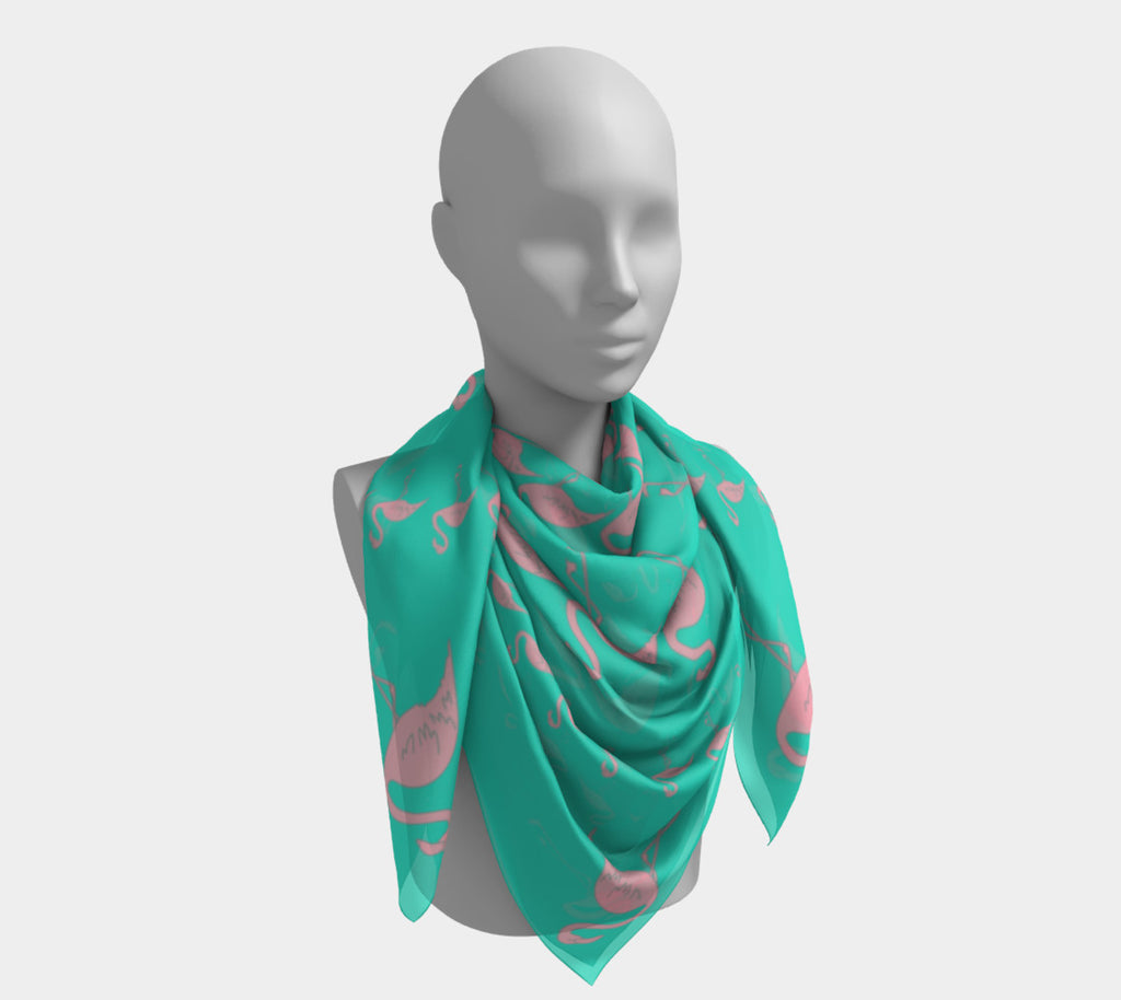 Flamingo Square Scarf - Pink on Aqua - SummerTies