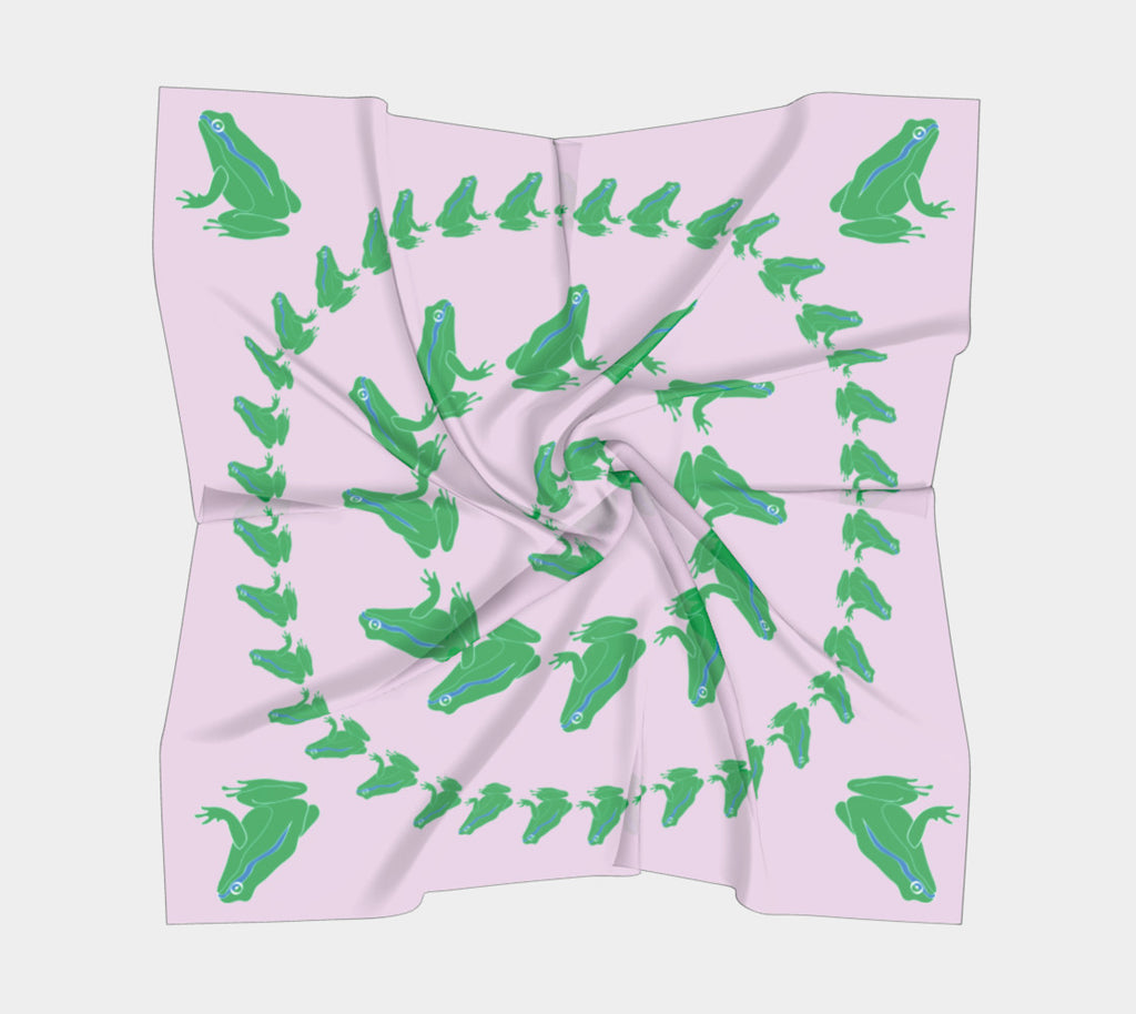 Frog Square Scarf - Green on Pink - SummerTies