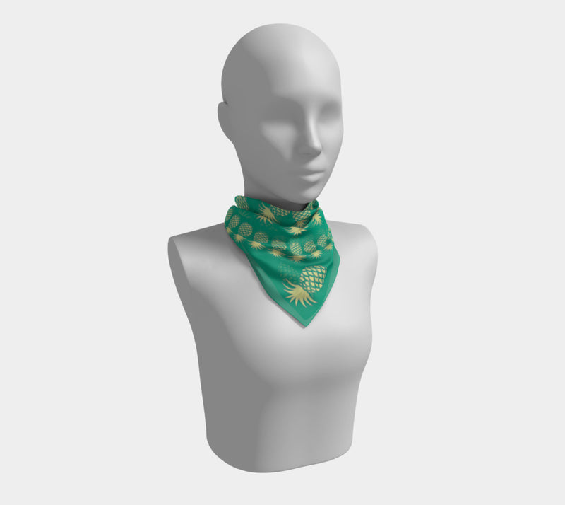 Pineapple Square Scarf - Yellow on Green - SummerTies