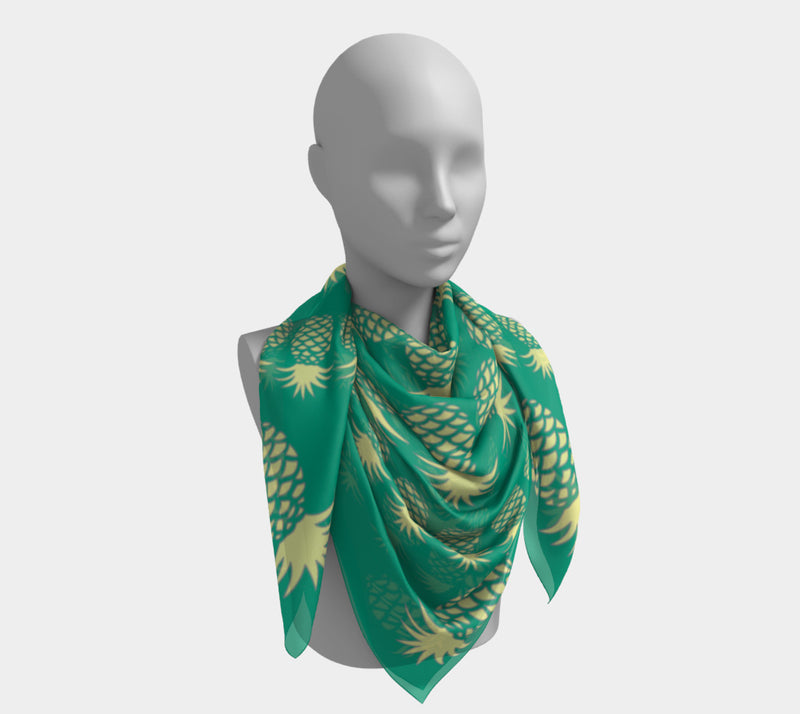 Pineapple Square Scarf - Yellow on Green