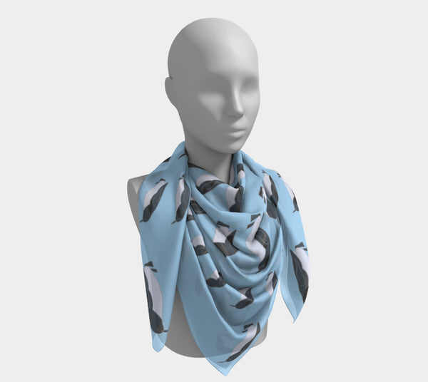 Penguin Square Scarf - Black on Blue - SummerTies