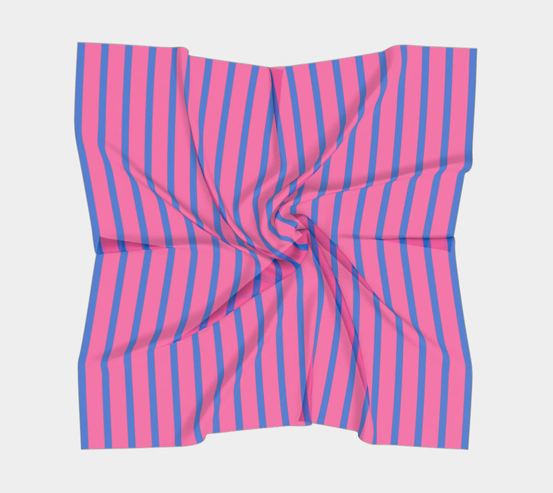 Striped Square Scarf - Blue on Pink - SummerTies