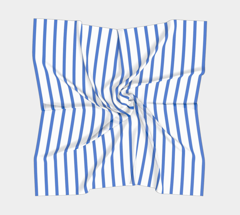 Striped Square Scarf - Blue on White
