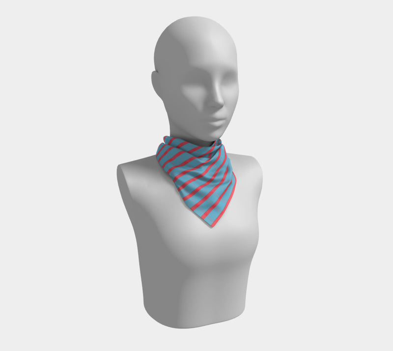 Striped Square Scarf - Darker Coral on Light Blue