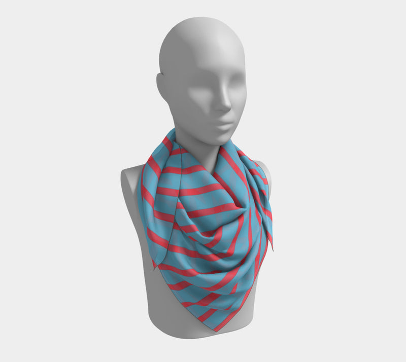 Striped Square Scarf - Darker Coral on Light Blue - SummerTies
